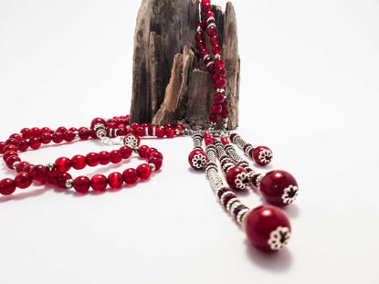 Picture of Necklace with cat's eye beads . Handmade