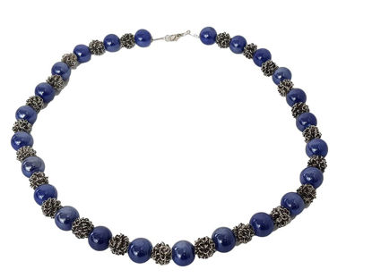 Picture of Necklace with small bluish Ceramic pearls. Handmade