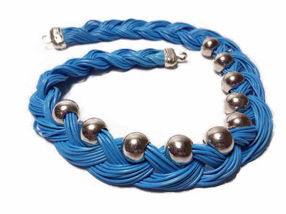 Picture of Leather Stripe Necklace with big Silver Colored Beads . Handmade